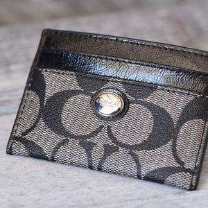 Coach card holder black patent leather trim